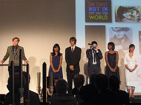 Worldstudio AIGA Scholarship winners on stage