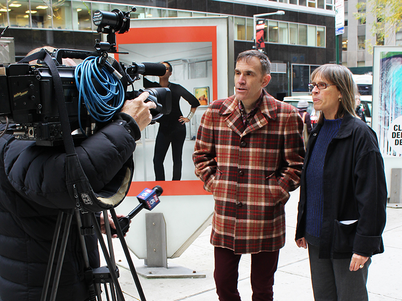 Mark and Janeil being interviewed for Fox News at the the press opening on November 15, 2017.